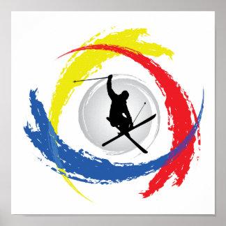 Ski Tricolor Emblem Posters