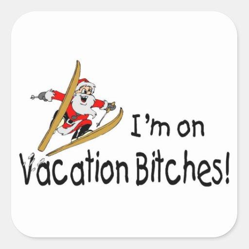 Ski Vacation Santa Claus Square Sticker