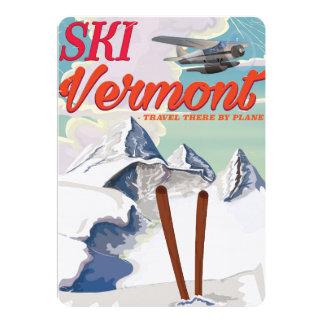 Ski Vermont retro vacation poster Card