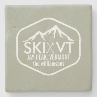 Ski Vermont Rustic Jay Peak, Stowe, Killington Stone Coaster