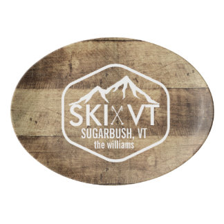 Ski Vermont Sugarbush Stowe Killington Rustic Wood Porcelain Serving Platter