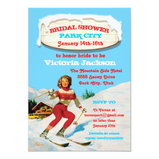 Ski Weekend Bridal Shower vintage pin up invites