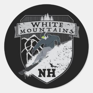 Ski White Mountains, NH Classic Round Sticker