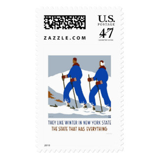 Ski Winter New York 1938 WPA Postage