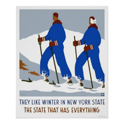 Ski Winter New York 1938 WPA Poster