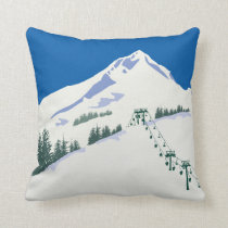 Ski Winter Scene Pillow