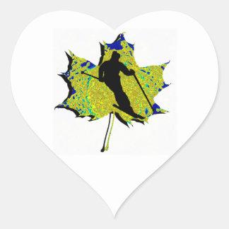 SKI WINTRY MIX HEART STICKER