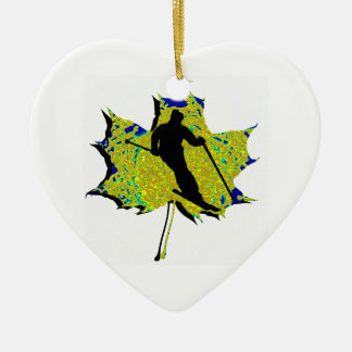 SKI WINTRY MIX Double-Sided HEART CERAMIC CHRISTMAS ORNAMENT