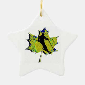 SKI WINTRY MIX Double-Sided STAR CERAMIC CHRISTMAS ORNAMENT