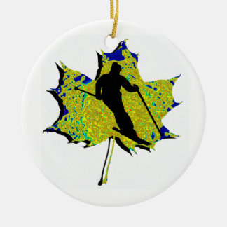 SKI WINTRY MIX Double-Sided CERAMIC ROUND CHRISTMAS ORNAMENT
