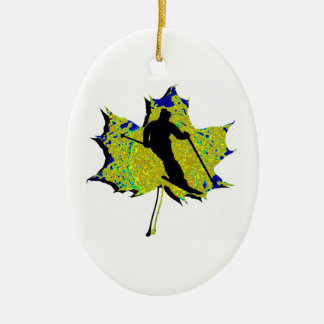 SKI WINTRY MIX Double-Sided OVAL CERAMIC CHRISTMAS ORNAMENT