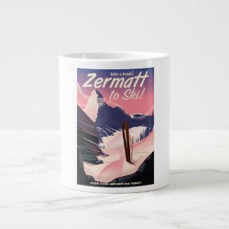 Ski Zermatt retro vacation poster Large Coffee Mug