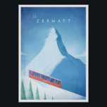 "Ski Zermatt Vintage Travel Poster<br><div class=""desc"">Vintage style skiing travel poster of the iconic Swiss ski resort Zermatt,  with the Matterhorn mountain - one of the highest peaks in the Alps. Text reads Ski Zermatt. Original hand drawn and digitally rendered illustration by Henry Rivers for Travel Poster Co.</div>"