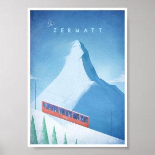 Ski Zermatt Vintage Travel Poster at Zazzle