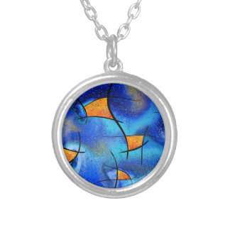 Skianithos V1 - digital abstract Silver Plated Necklace