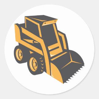 skid steer digger truck classic round sticker