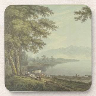 Skiddaw and Derwent Water (pen & ink with w/c over Beverage Coaster