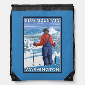 Skier Admiring - Blue Mountain, Washington Drawstring Bag