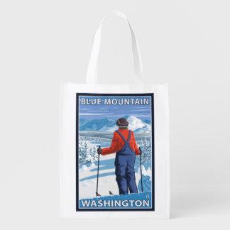 Skier Admiring - Blue Mountain, Washington Grocery Bag