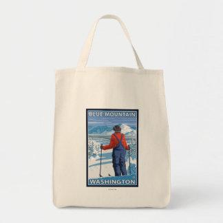 Skier Admiring - Blue Mountain, Washington Grocery Tote Bag