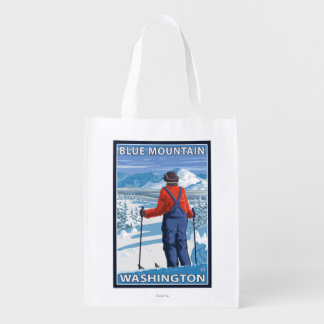 Skier Admiring - Blue Mountain, Washington Market Totes