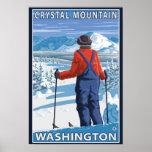 Skier Admiring - Crystal Mountain, Washington Posters