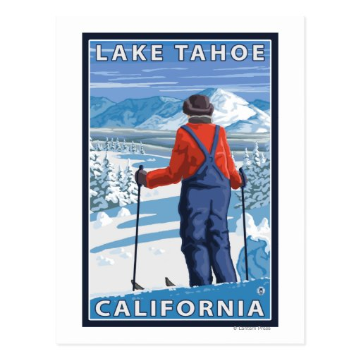Skier Admiring - Lake Tahoe, California Postcard