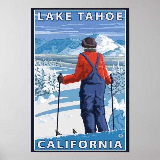 Skier Admiring - Lake Tahoe, California Poster