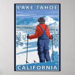 Skier Admiring - Lake Tahoe, California Posters