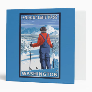Skier Admiring - Snoqualmie Pass, Washington 3 Ring Binder