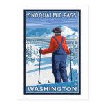 Skier Admiring - Snoqualmie Pass, Washington Post Cards