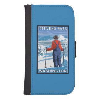 Skier Admiring - Stevens Pass, Washington Phone Wallet Cases
