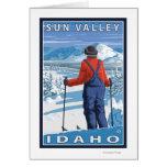 Skier Admiring - Sun Valley, Idaho Card