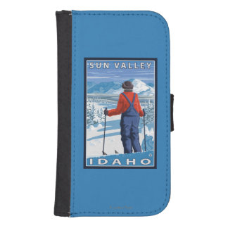 Skier Admiring - Sun Valley, Idaho Galaxy S4 Wallet Cases
