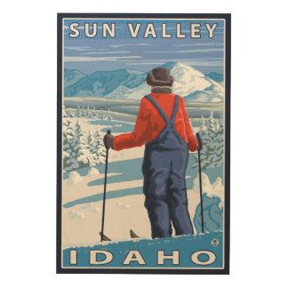 Skier Admiring - Sun Valley, Idaho Wood Wall Art