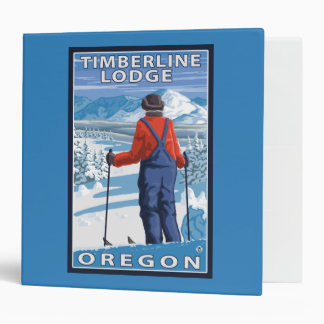 Skier Admiring - Timberline Lodge, Oregon 3 Ring Binder
