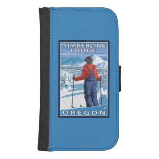 Skier Admiring - Timberline Lodge, Oregon Phone Wallet