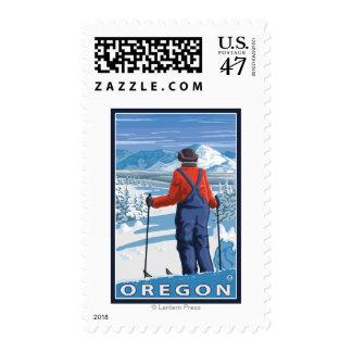Skier Admiring- Vintage Travel Poster Postage