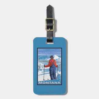 Skier AdmiringMontanaVintage Travel Poster Bag Tag