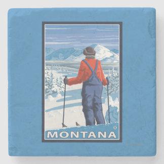 Skier AdmiringMontanaVintage Travel Poster Stone Beverage Coaster