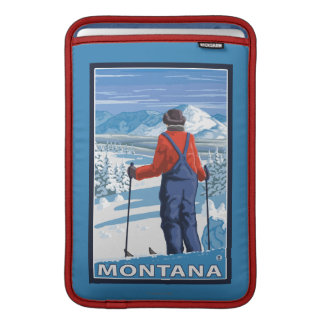 Skier AdmiringMontanaVintage Travel Poster MacBook Sleeve