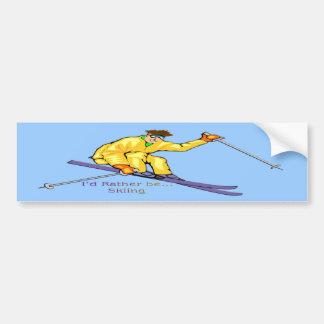 Skier Car Bumper Sticker