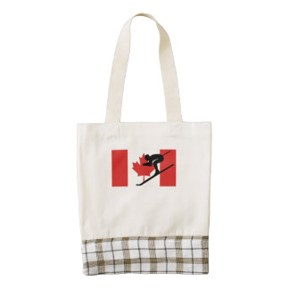 Skier Canadian Flag Zazzle HEART Tote Bag