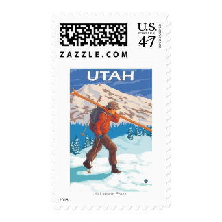 Skier Carrying SkisUtah Postage