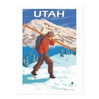 Skier Carrying SkisUtah Postcard