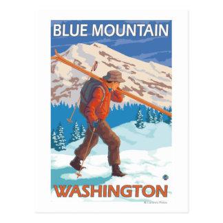 Skier Carrying Snow Skis - Blue Mountain, WA Postcard