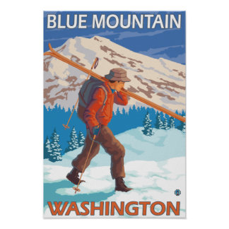 Skier Carrying Snow Skis - Blue Mountain, WA Posters