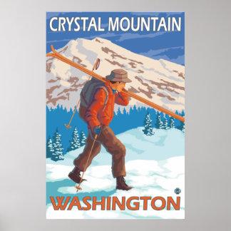 Skier Carrying Snow Skis - Crystal Mountain, WA Poster