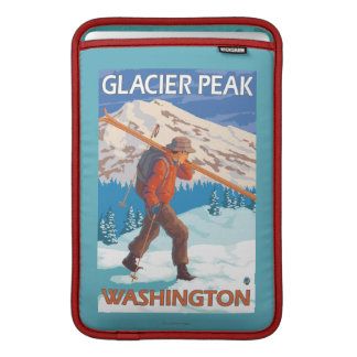 Skier Carrying Snow Skis - Glacier Peak, WA Sleeve For MacBook Air