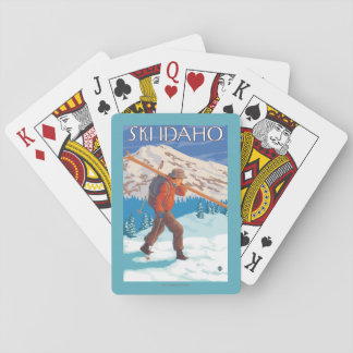 Skier Carrying Snow Skis - Idaho Poker Cards